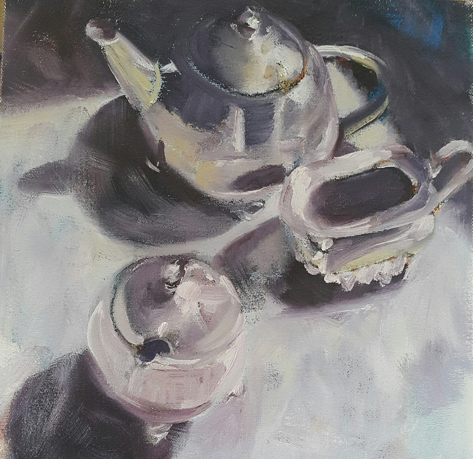 """Lavender tea"" original fine art by Rentia Coetzee"