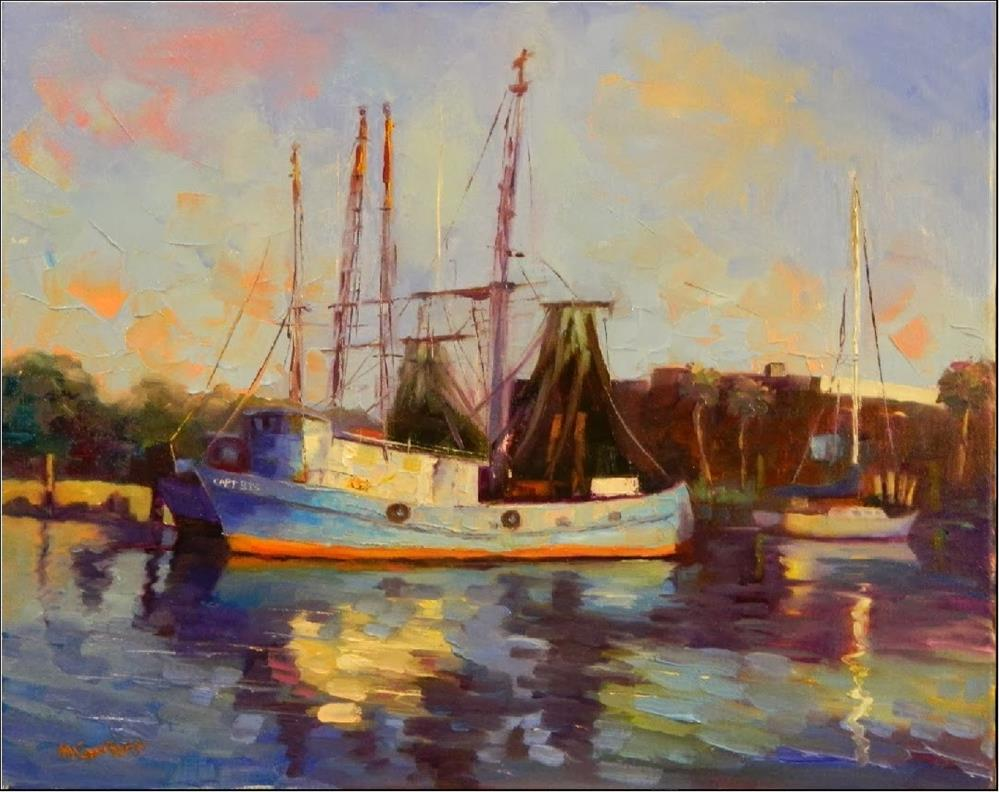 """Early Morning Light, Shem's Creek, 16x 20, oil on canvas, Charleston, fishing boats, shrimp boats,"" original fine art by Maryanne Jacobsen"