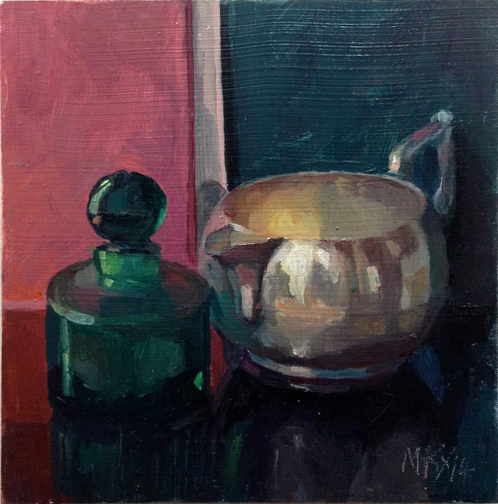 """Little Green Bottle"" original fine art by Myriam Kin-Yee"