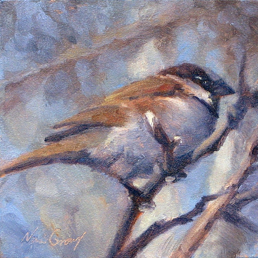 """Sparrow in the Branches"" original fine art by Naomi Gray"