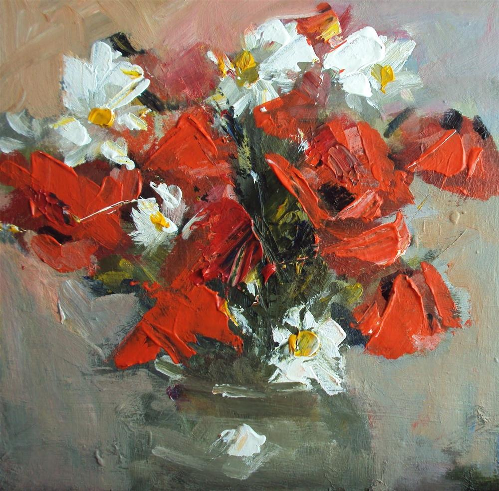 """poppies and margaritas in a jar"" original fine art by Parastoo Ganjei"