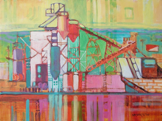"""Cement Plant"" original fine art by Nancy Roberts"