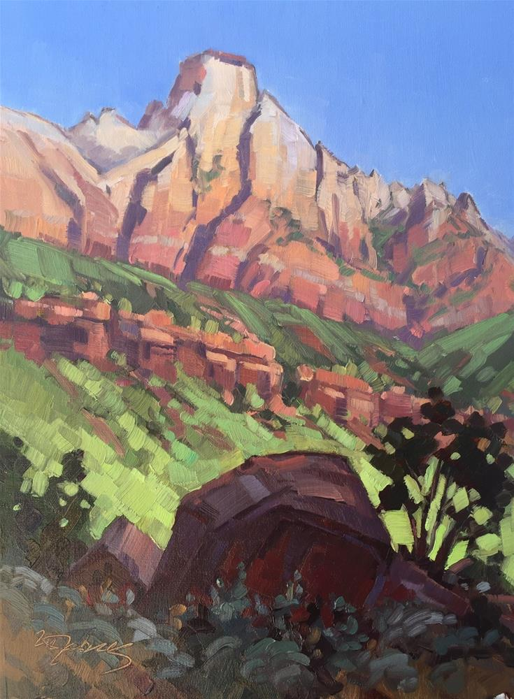 """Morning Light and Shadows - Zion Nt PK"" original fine art by Mary Jabens"