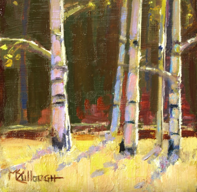 """Aspen Trunks"" original fine art by Susan McCullough"