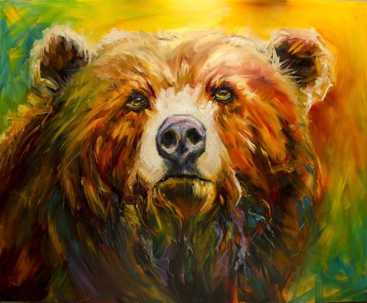 """ARTOUTWEST Bear Master Wildlife Oil Painting by Diane Whitehead"" original fine art by Diane Whitehead"