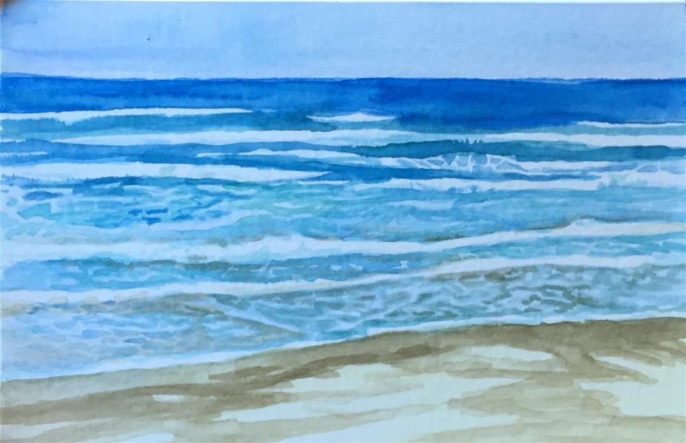"""Waves warercolor1"" original fine art by Natasha Ramras"