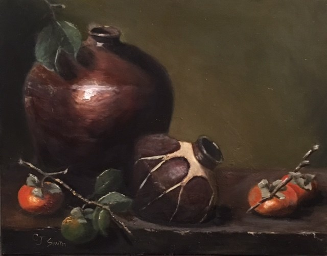 """Persimmons with Pottery"" original fine art by Cheryl J Smith"
