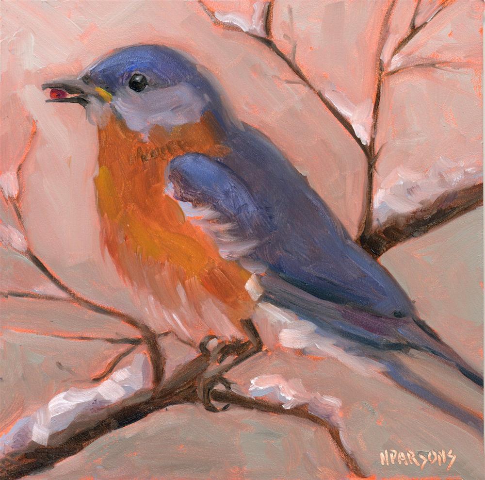 Birdie Want a Berry? original fine art by Nancy Parsons