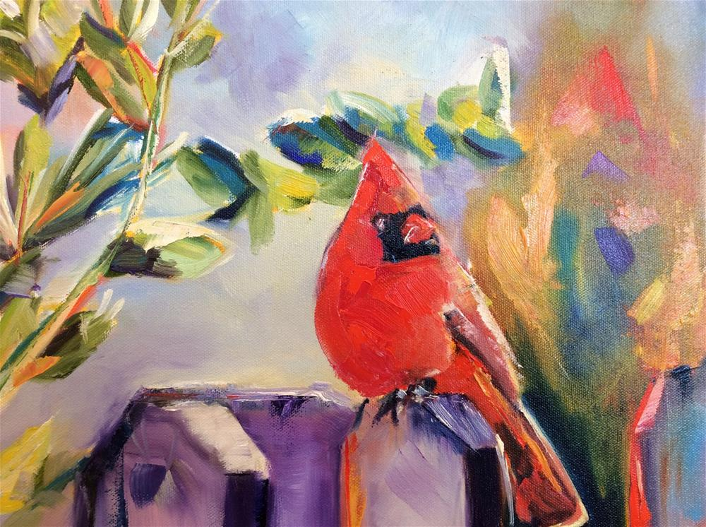 """Cardinal"" original fine art by Molly Rohrscheib Hathaway"