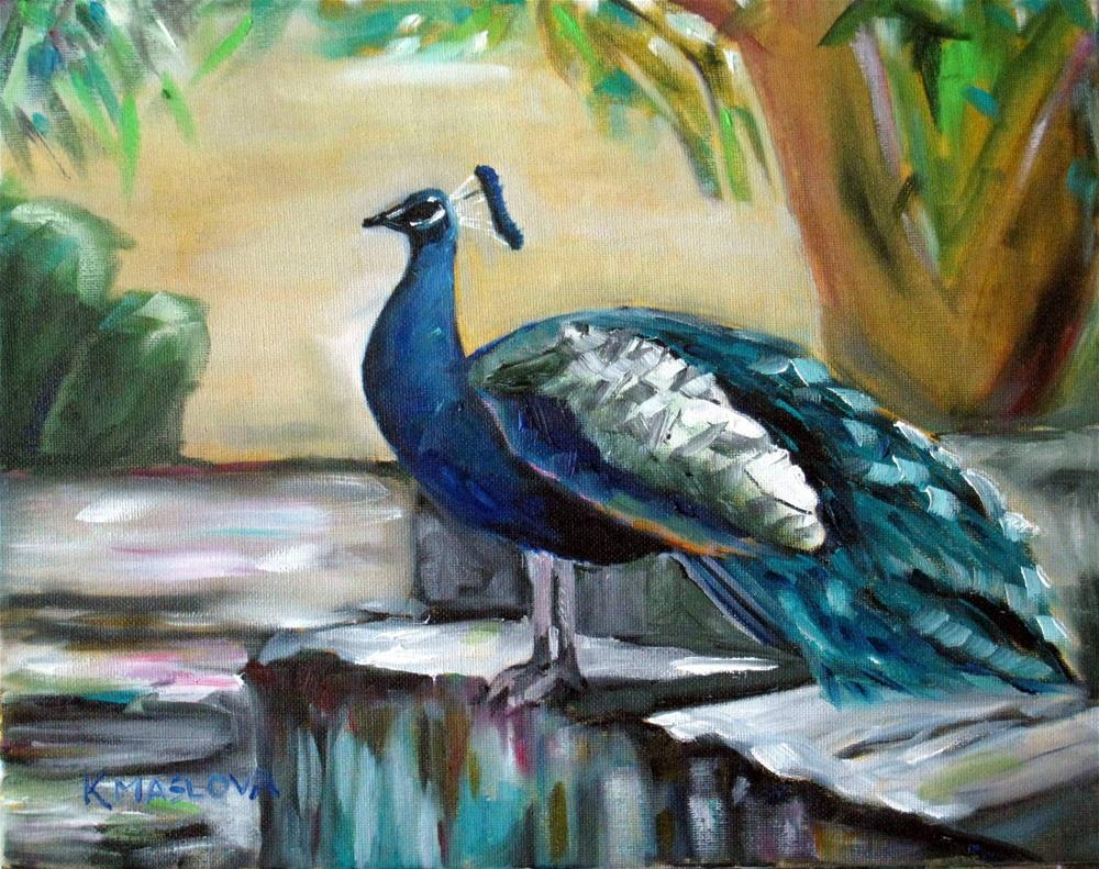 """Peacock"" original fine art by Kulli Maslova"