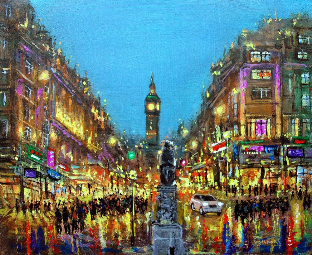 """London in night1"" original fine art by vishalandra dakur"