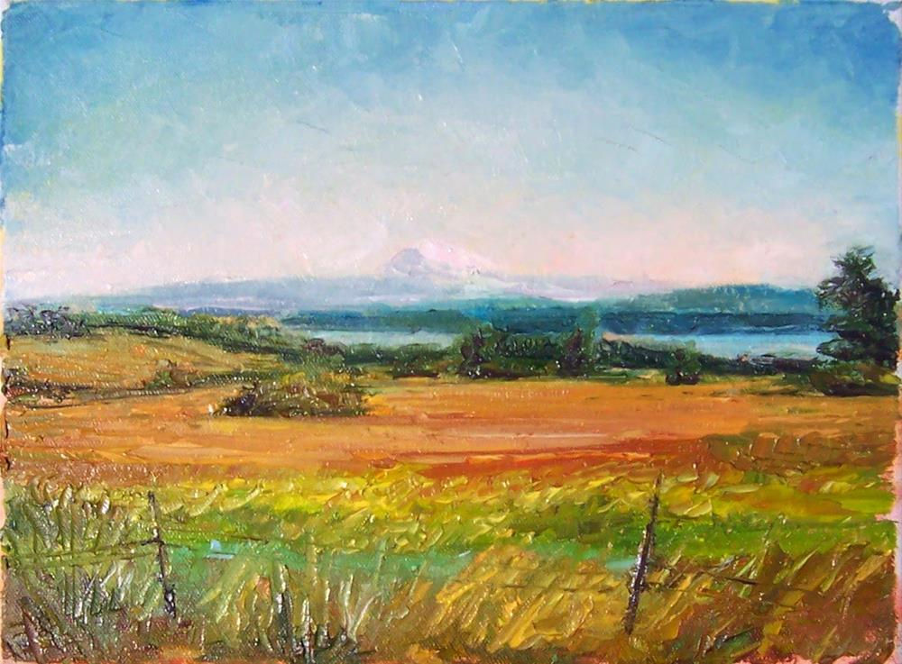 """View from the Island,landscape,oil on canvas,9x12,$325"" original fine art by Joy Olney"