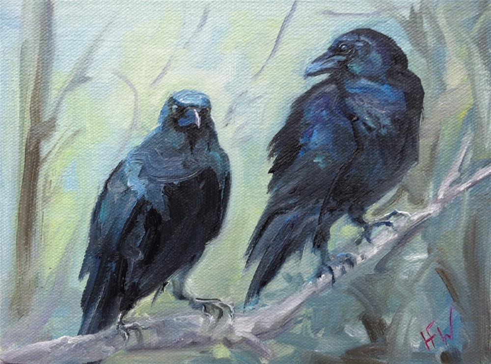 """Pair of Crows"" original fine art by H.F. Wallen"