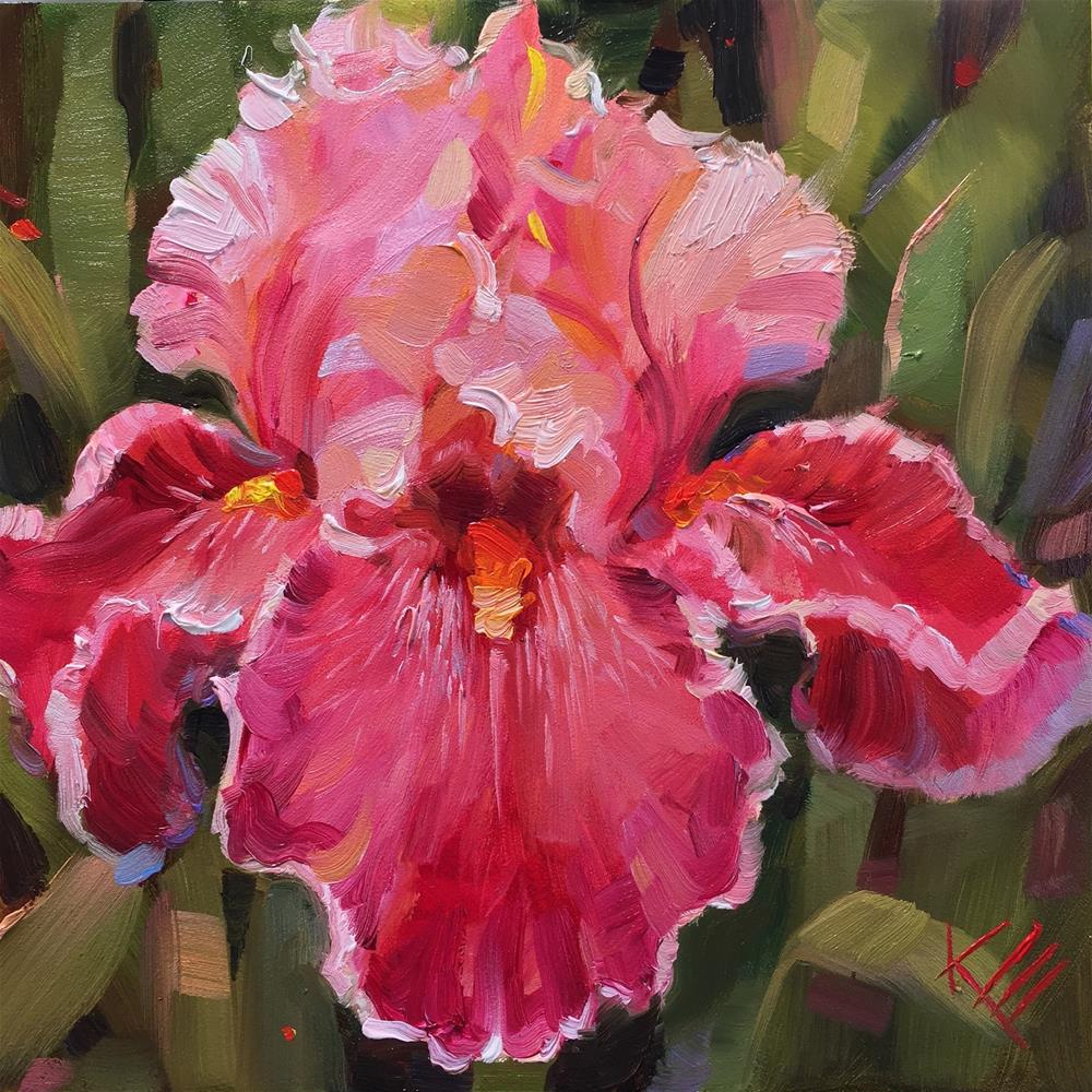 """Art Show - Tall bearded iris"" original fine art by Krista Eaton"