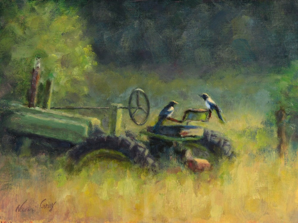 """Magpies on the Green Tractor"" original fine art by Naomi Gray"