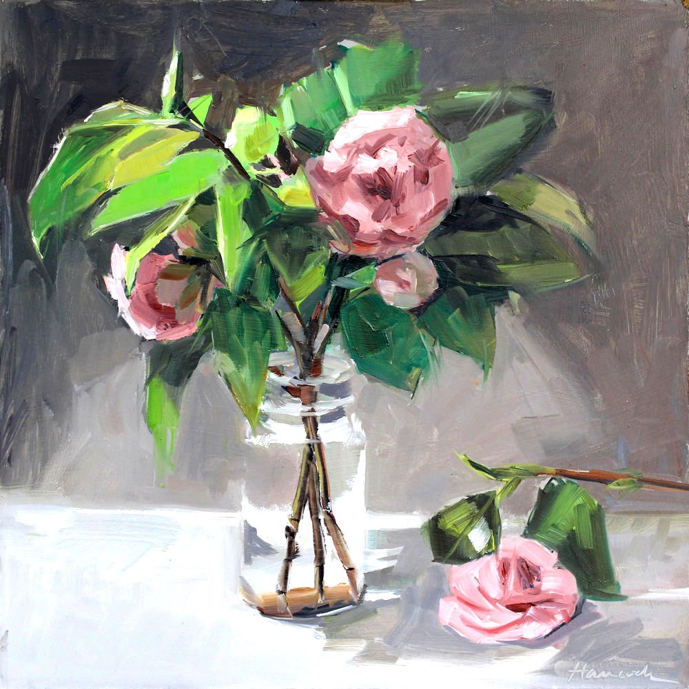 """Pink Camellia on the Table"" original fine art by Gretchen Hancock"