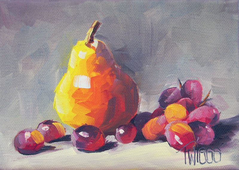 """Pear and Red Grapes 2"" original fine art by Lori Twiggs"