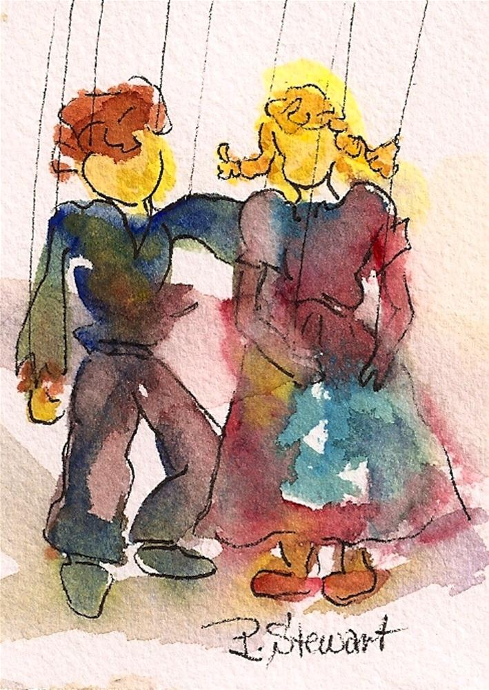 """ACEO Marionettes"" original fine art by Penny Lee StewArt"