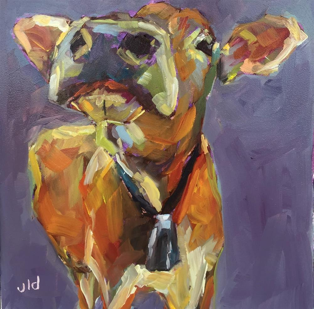 """Cow 66  High society"" original fine art by Jean Delaney"