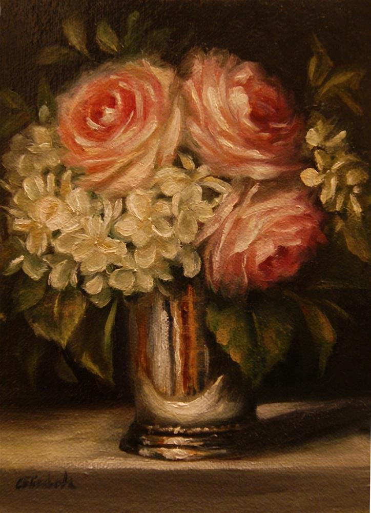 """Roses and Hydrangeas in Mint Julep Cup,  Oil on 5x7 Linen Panel"" original fine art by Carolina Elizabeth"