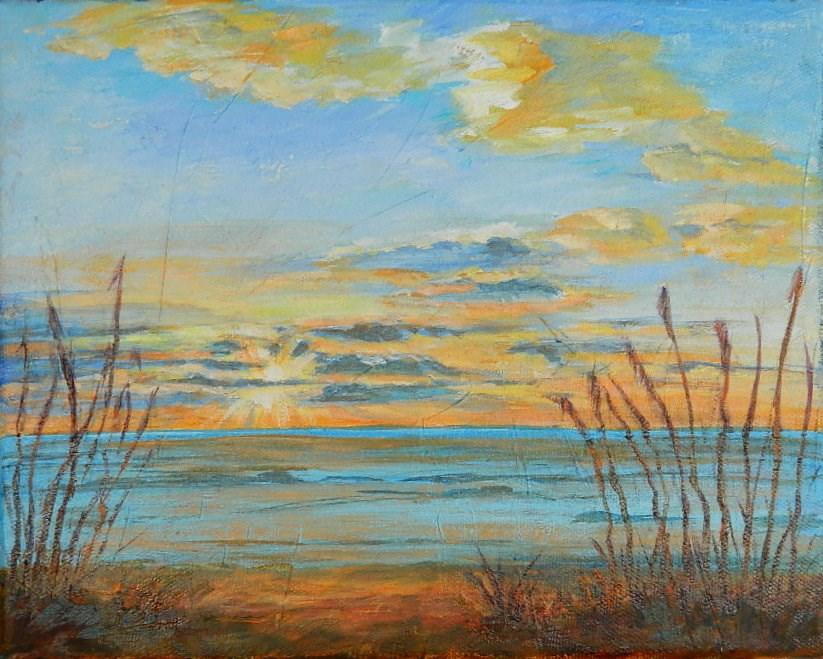 """Gulf Sunset"" original fine art by Gloria Urban"