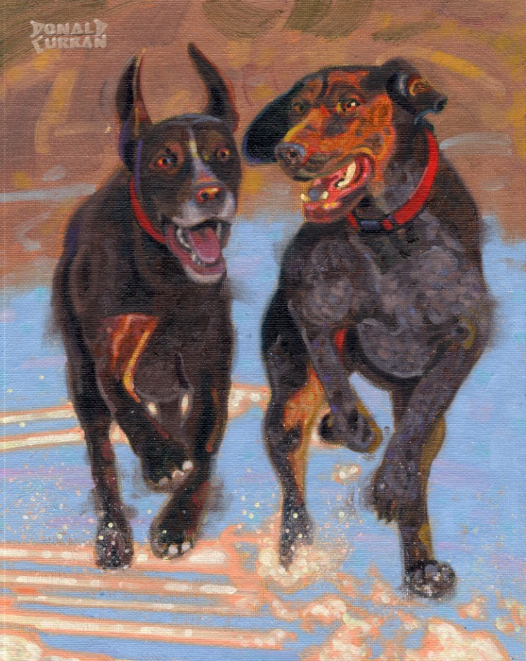 """Happy Dogs"" original fine art by Donald Curran"