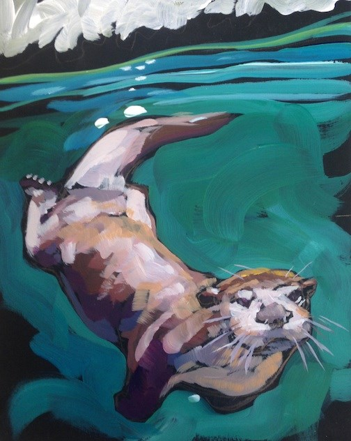 """Otterly Inspection"" original fine art by Kat Corrigan"