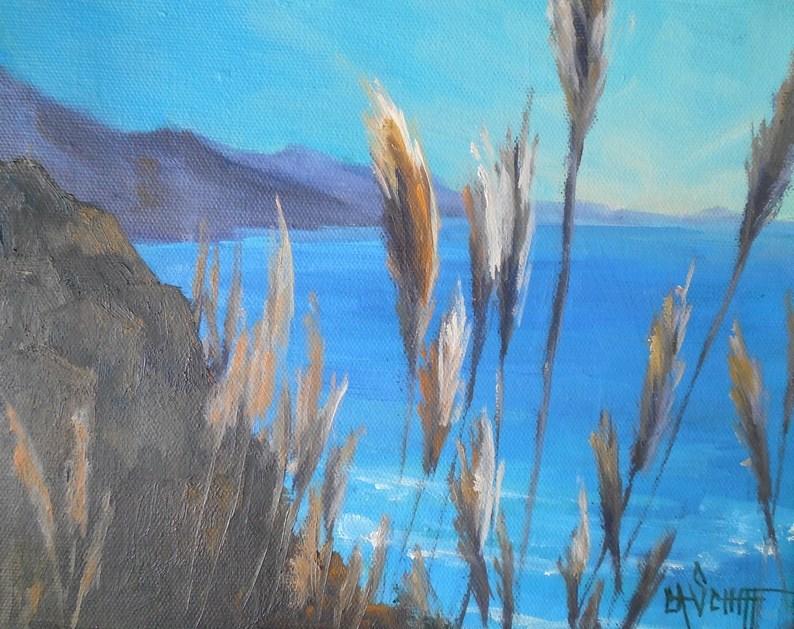 """California Landscape, Small Oil Painting, Coastal Painting, Daily Painting, Small Oil Painting"" original fine art by Carol Schiff"
