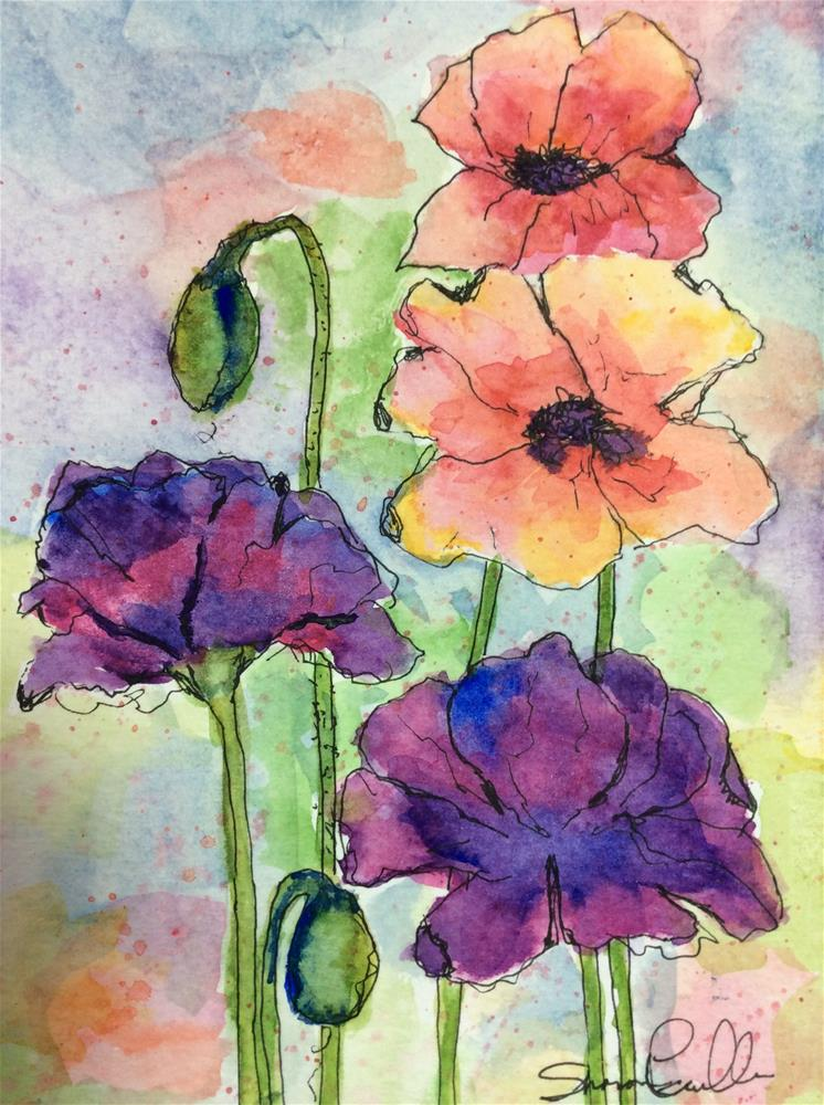 """Purple Poppies"" original fine art by Sharon Cullen"