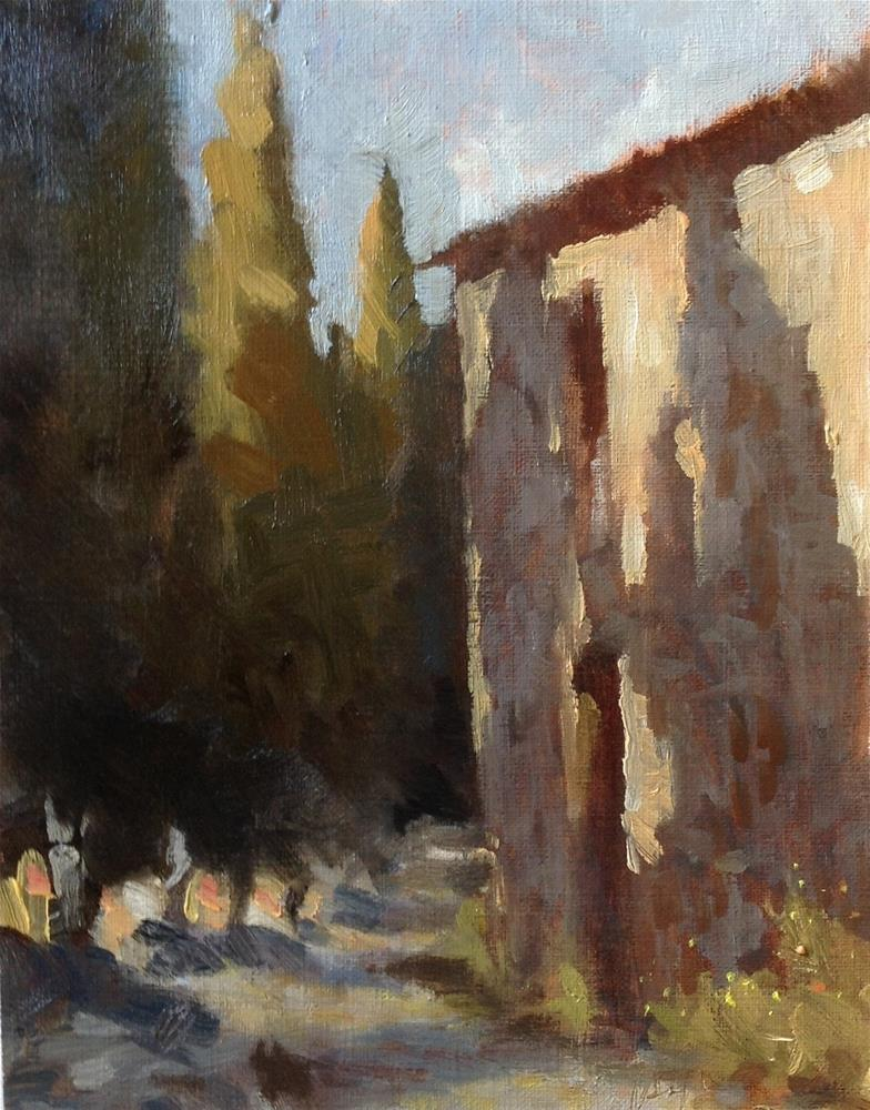 """Cypress alley in the evening"" original fine art by Christine Bayle"