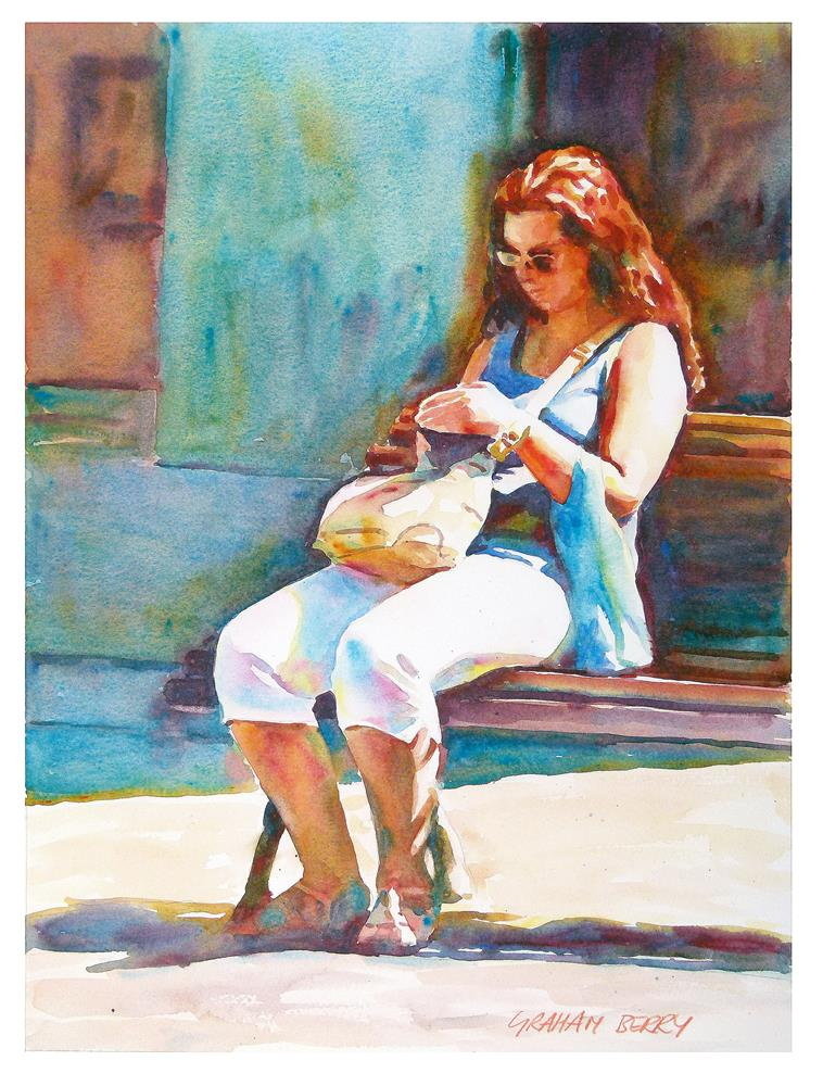 """Reading in the sunshine"" original fine art by Graham Berry"
