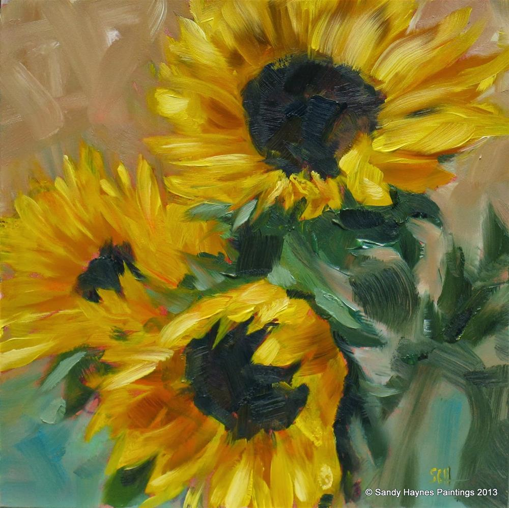 """Sunflower trio #145"" original fine art by Sandy Haynes"