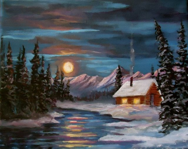 """Winter Moon and Cabin"" original fine art by Jackie Irvine"