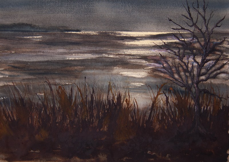"""Dappled Moonlight"" original fine art by Jean Lurssen"