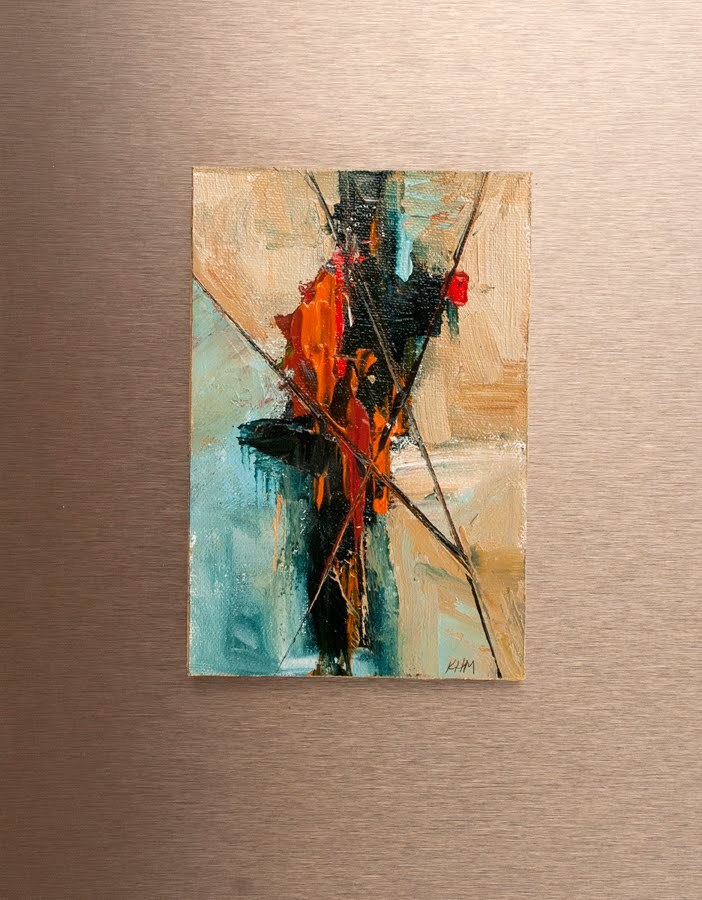 """KMAA2770 Red Destiny (original oil abstract 10x12 by Contemporary Colorado artist Kit Hevron Mahoney"" original fine art by Kit Hevron Mahoney"