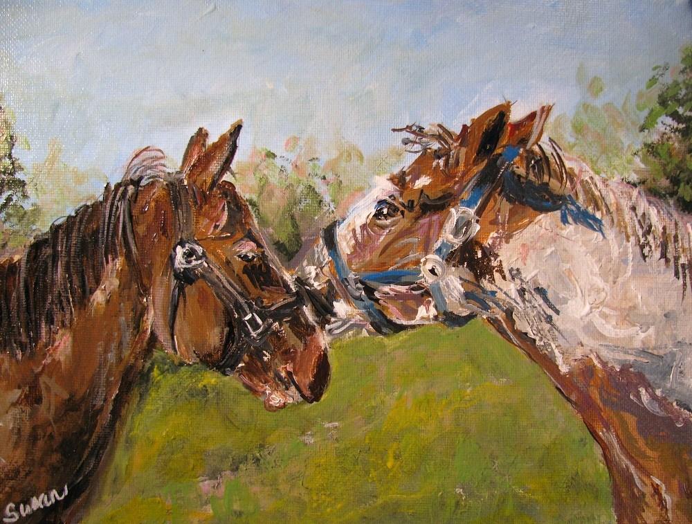 """Kirby and Kooper"" original fine art by Susan Elizabeth Jones"