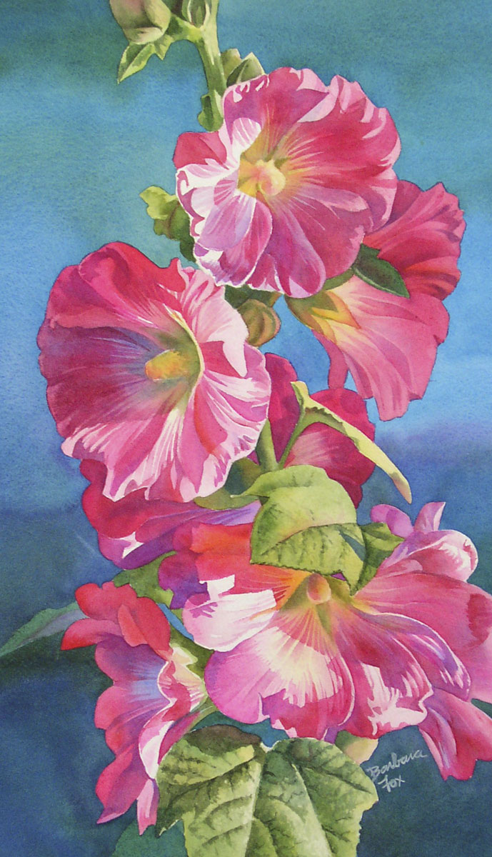 """HOLLYHOCKS AT SUNSET watercolor floral painting"" original fine art by Barbara Fox"