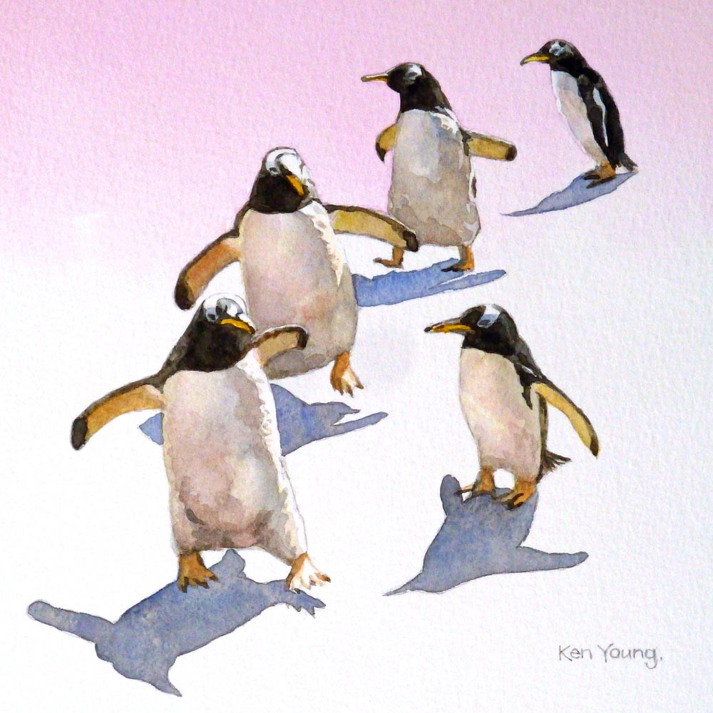 """Penguin Parade"" original fine art by Ken Young"