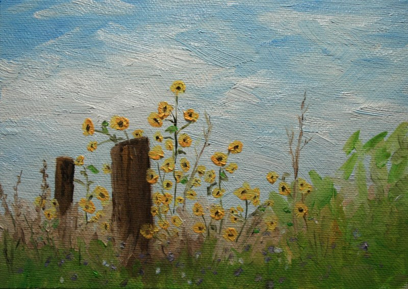 """Od Fence Posts"" original fine art by Jean Nelson"