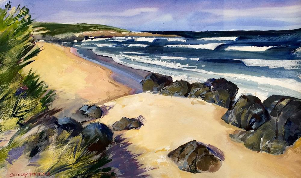 """Breakers at Chain of Lagoons Beach"" original fine art by Shirley Peters"