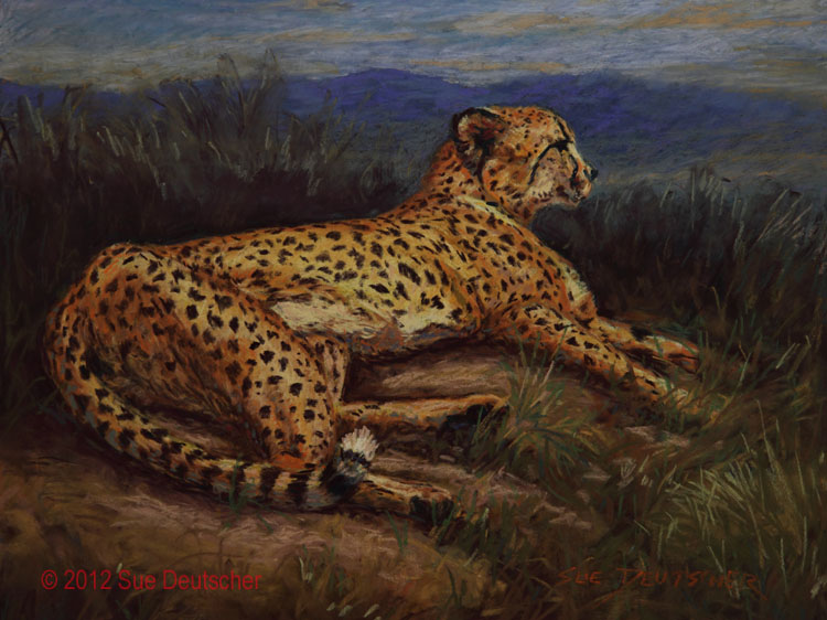"""Cheetah in Pastel"" original fine art by Sue Deutscher"