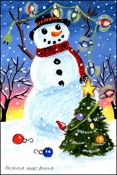 """The Snowman's Tree"" original fine art by Patricia Ann Rizzo"