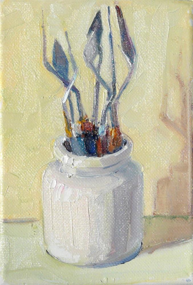 """Pallet Knives in Sunlight,still life,oil on canvas,7x5,price$150"" original fine art by Joy Olney"