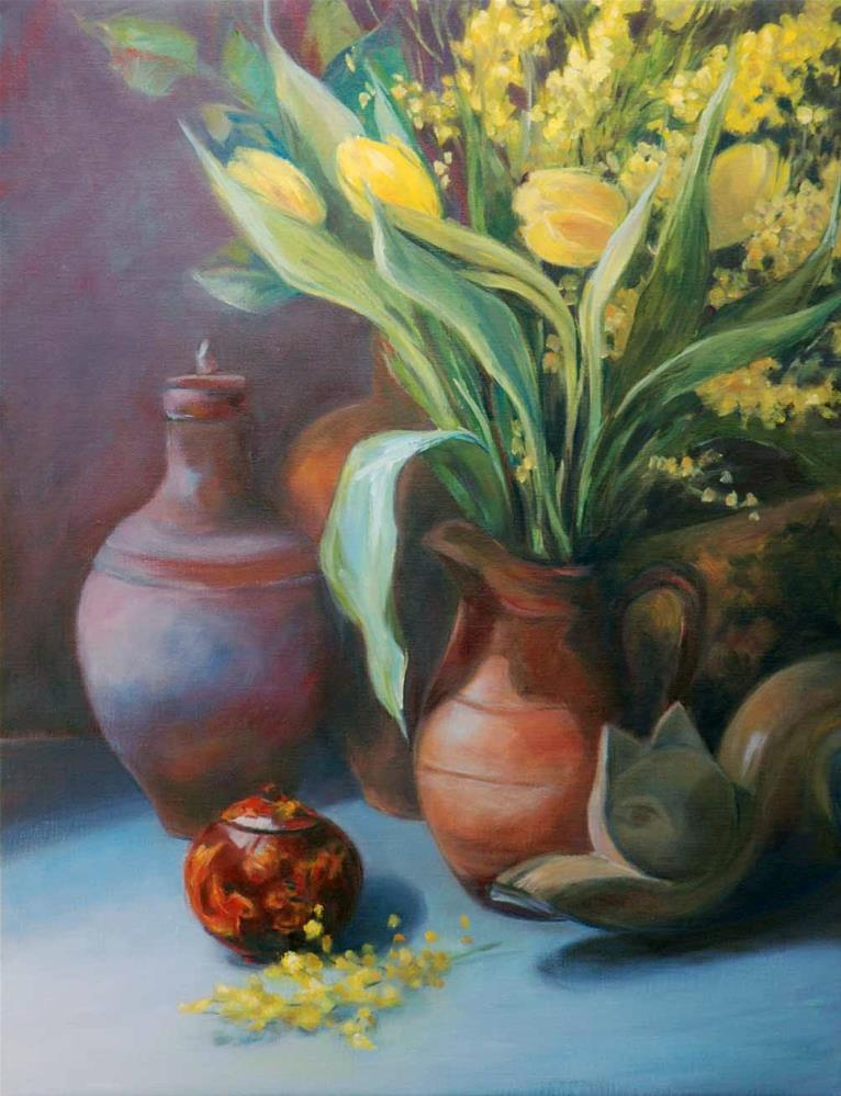"""Still life with wooden cat and fish"" original fine art by Olga Touboltseva-Lefort"