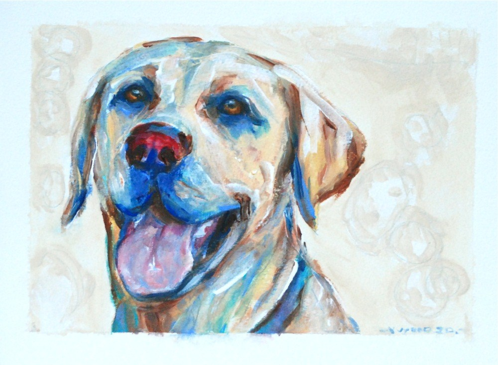 """Yellow lab after a hard day at play!"" original fine art by Vicki Wood"