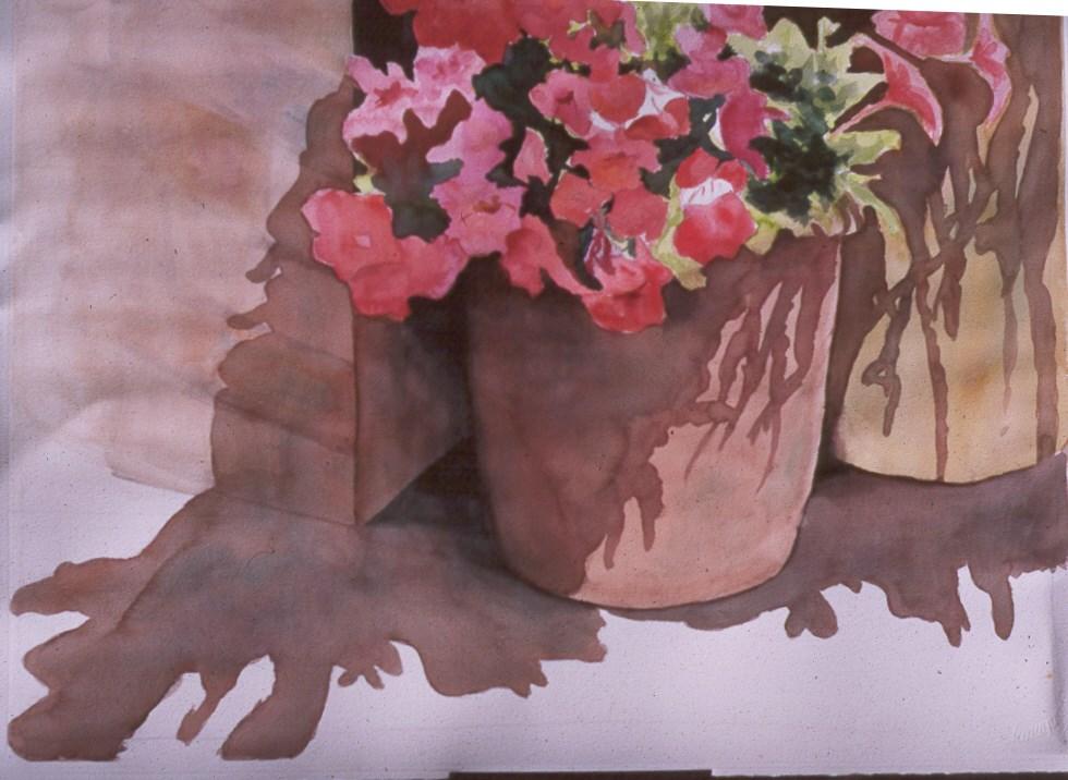 """Petunias in a Pot"" original fine art by Carol Cochran"