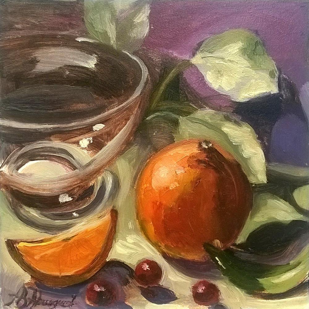 """""""Glass Bowl with Tangerine"""" original fine art by Adriana B. Almquist"""
