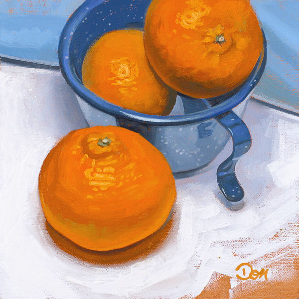 """Tangerines and Blue"" original fine art by Don Stewart"