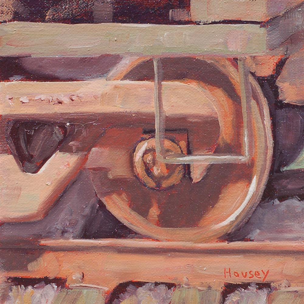 """""""Train Wheel"""" original fine art by Bruce Housey"""