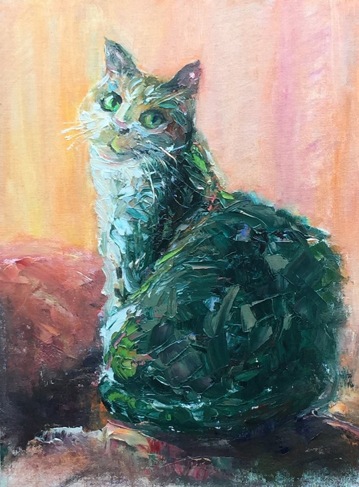 """Green Cat"" original fine art by Mary Schiros"